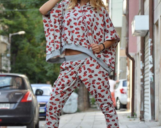 Extravagant Cotton Maxi Hooded Set, Asymmetric Grey Hoodie Sweatshirt, Drop Crotch Pants, Sports Red Kisses Set by SSDfashion