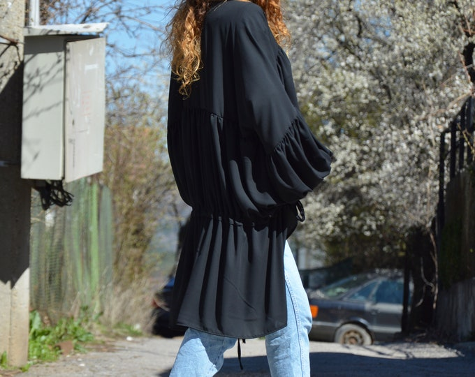 Black Chiffon Shirt, Asymmetric Long Tunic, Summer Loose Top, Extravagant Tunic, Plus Size Maxi Shirt by SSDfashion