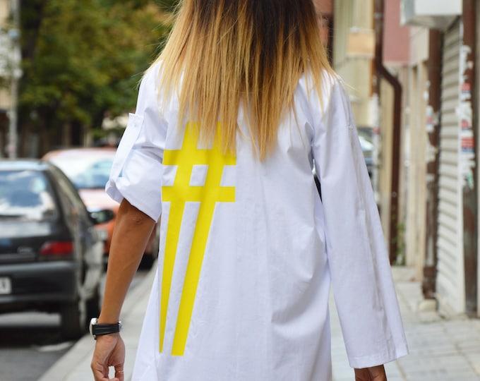 White Cotton Long Shirt, Maxi Plus Size Tunic, Loose Oversize Tunic Dress, Yellow Hashtag Shirt by SSDfashion