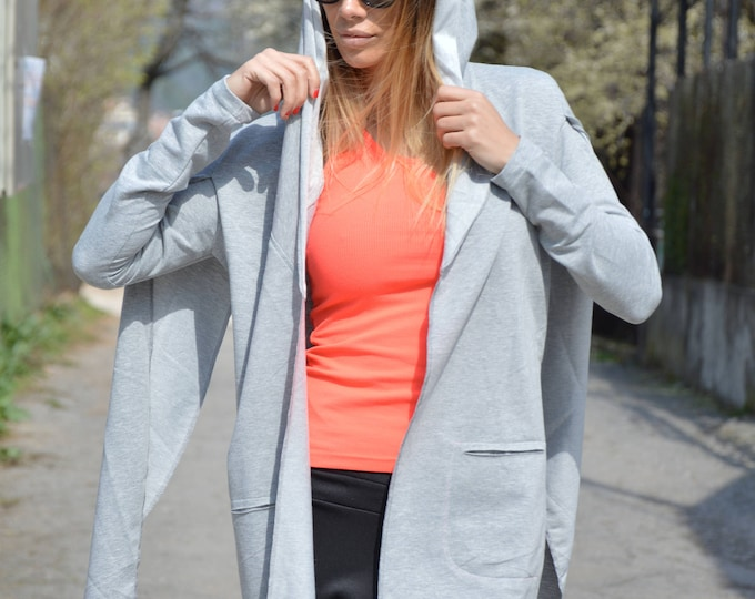 Extravagant Gray Hooded, Long Sleeve Sweatshirt, Asymmetric Tunic, Quilted Cotton Top, Maxi Jacket by SSDfashion