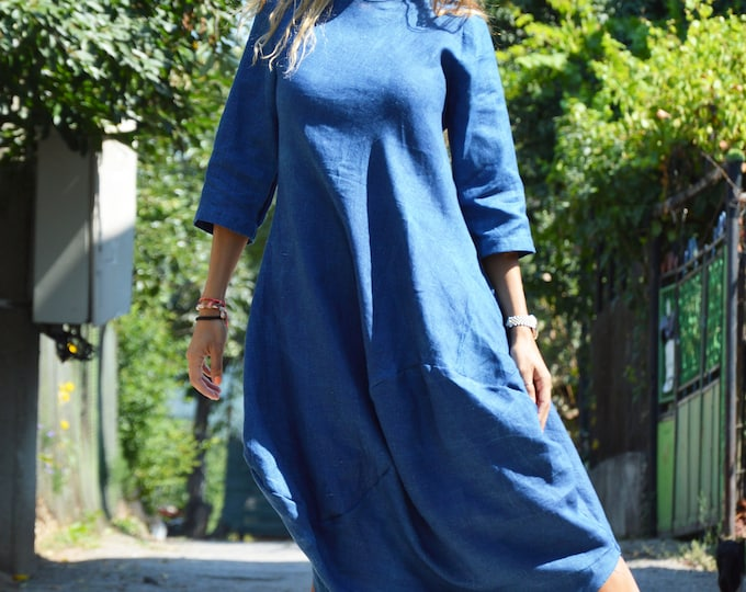 Kaftan Dress, Blue Linen Dress, Custom Made Dress, Elegant Kaftan, Maxi Dress, Summer Short Sleeves Dress, Trendy Woman Dress by SSDfashion