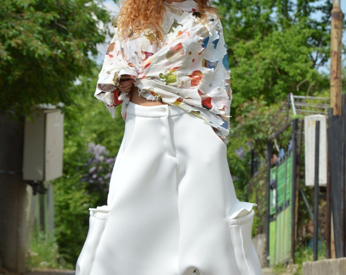 Neoprene Loose Pants, White Drop Crotch Harem Pants, Extravagant Pants With Two Large Pockets, Maxi Pants by SSDfashion