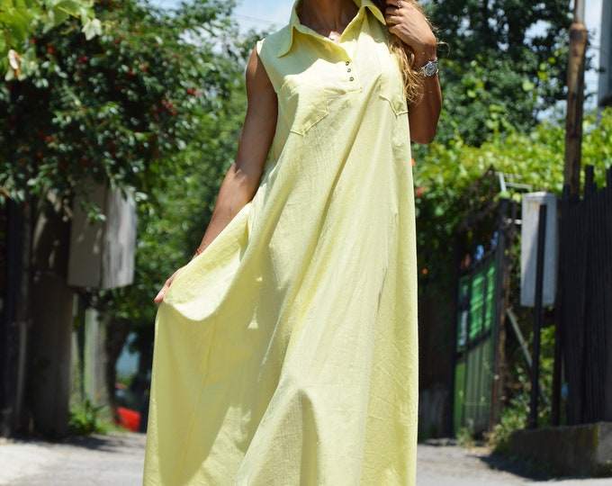 Yellow Linen Loose Dress, Long Sleeveless Summer Dress, Plus Size Dress, Extravagant Casual Party Kaftan by SSDfashion