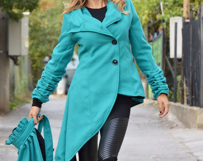 Clothing Cashmere Coat, Women's Trendy Coat, Asymmetric Turquoise Coat, Fashion Women Coats, Long Sleeves Jacket by SSDfashion