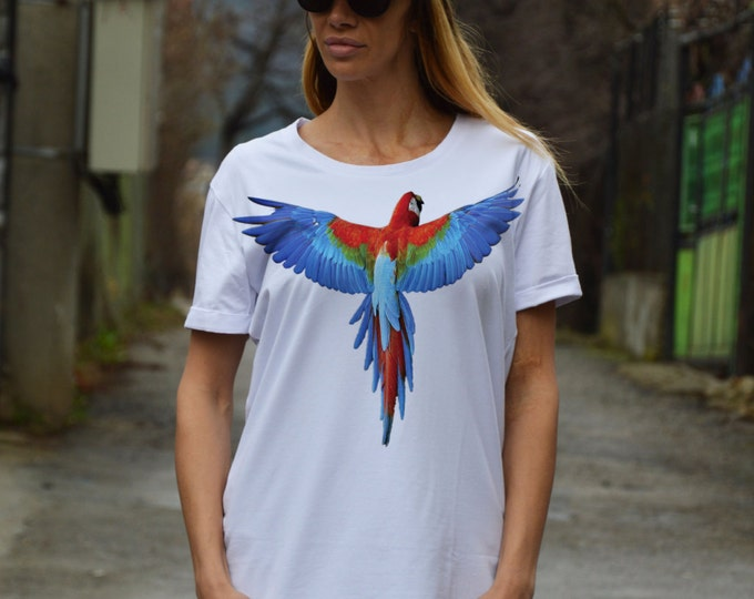 White T-shirt Print Parrot, Plus Size Clothing, Oversize Screenprint Tshirts, Cotton Maxi Top By SSDfashion