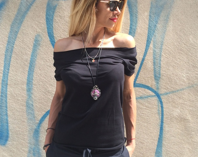 Women's Top Plus Size, Black Cotton Maxi Blouse, Casual Top With Short Sleeve, Fashion T-shirt, Black Tunic by SSDfashion