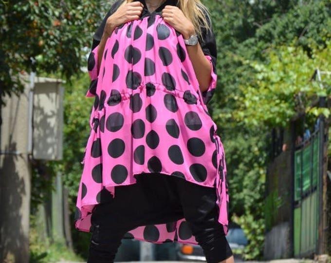 Plus Size Polka Dots Tunic, Black Purple Dress, Women Maxi Loose Shirt, One Size Chiffon Dress by SSDfashion