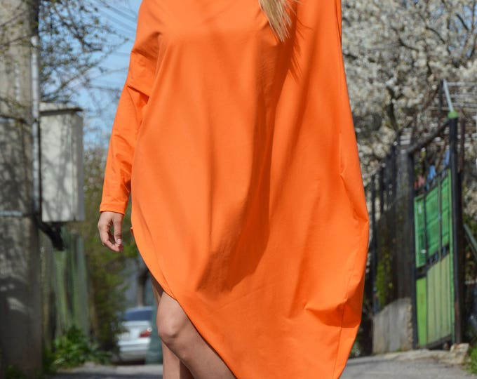 Casual Orange Maxi Kaftan, Extravagant Cotton Tunic Dress, Asymmetric Sleeveless Tunic, Maxi Tunic Top by SSDfashion