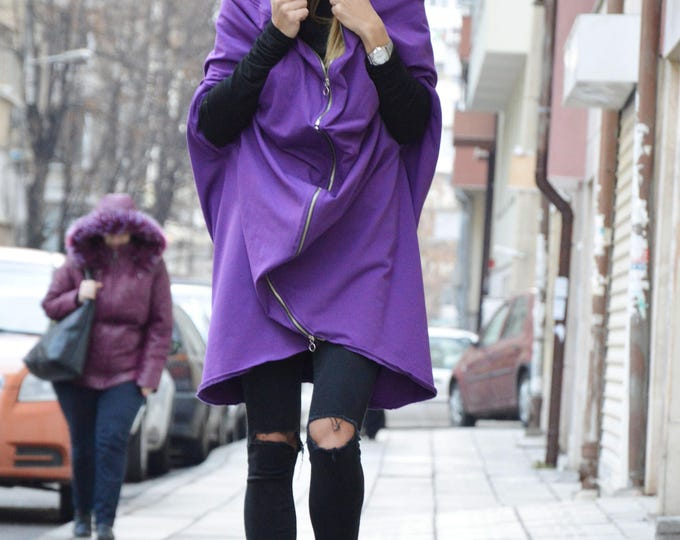 Sport Purple Hooded With Zipper, Hooded Sweatshirt Jacket, Cotton Hooded Dress, Maxi Top, Plus Size Maxi Cardigan by SSDfashion