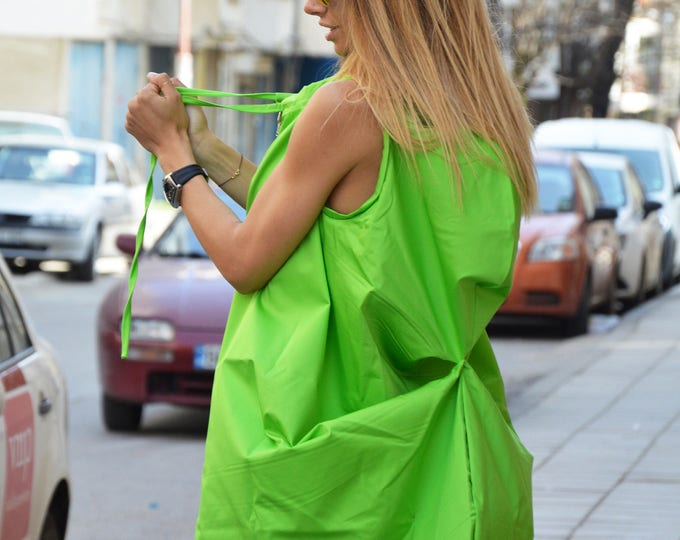 Asymmetric Midi Dress, Extravagant Sleeveless Dress, Oversize Short Dress, Loose Cotton Dress, Handmade Party Dress By SSDfashion