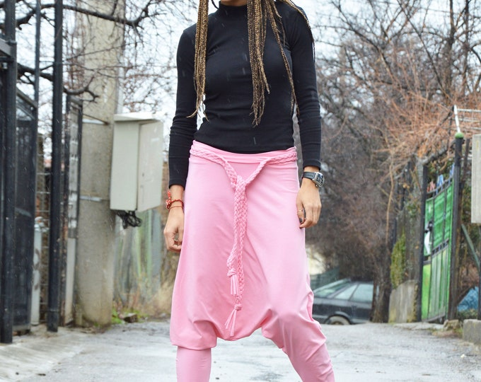 Cotton Pink Casual Pants, Women Extravagant Pants, Oversize Unisex Trousers, Drop Crotch Pants, Loose Pants by SSDfashion