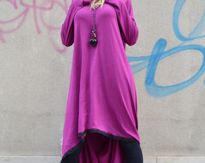 Asymmetric Purple Dress with Lace, Maxi Long Dress, Loose Soft Viscose, Casual Dress, Summer Sexy Tunic by SSDfashion
