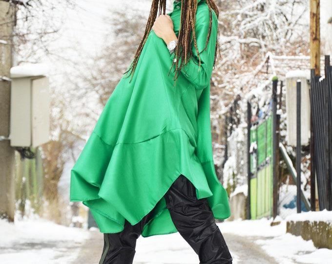 Green Taffeta Buttoned Long Shirt, Extravagant Dress with Sleeves, Women Plus Size Shirt, Asymmetric Oversize Top by SSDfashion