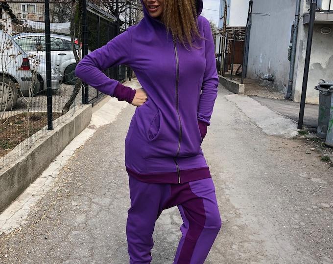 Cotton Purple Set, Maxi Zipper Set, Harem Pants Set, Loose Hooded Sweatshirt, Extravagant Pants, Autumn Trousers by SSDfashion