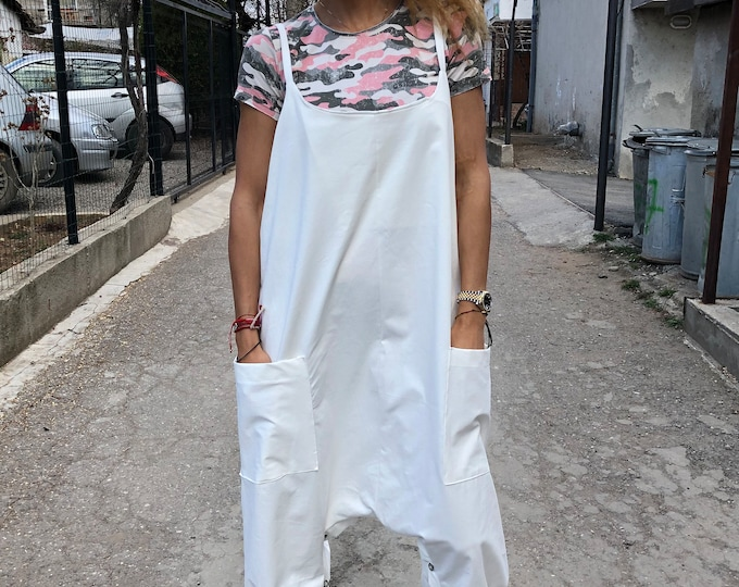 Clothing New Women Jumpsuit, White Maxi Jumpsuit, Harem Jumpsuit, Summer Jumpsuit, Denim Jumpsuit, Drop Crotch Union Suit by SSDfashion