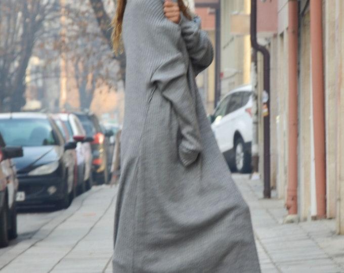 Dress for the New Year, Gray Knitting Long Dress, Women Dress, Winter Plus Size Maxi Dress, Warm Dress, Loose Dress by SSDfashion