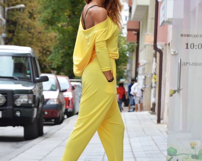Yellow Loose Hooded Long Jumpsuit, Extravagant Low Bottom Casual Romper, Drop Crotch Unique Pants by SSDfashion