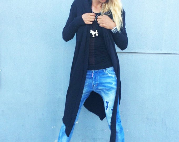 Oversize Black Long Vest, Loose Casual Black Top, Asymmetric Long Sleeves Vest, Extravagant Maxi Top by SSDfashion