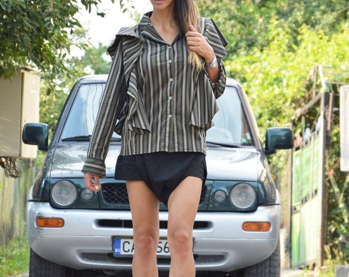 Elegant Maxi Shirt, Loose Fitted Shirt, Extravagant Striped Shirt, Office Shirt Design, Summer Shirt, Plus size maxi Shirt by SSDfashion