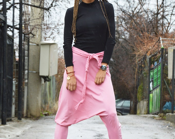 Women Extravagant Pink Casual Pants, Loose Cotton Harem Pants, Drop Crotch Pants, Oversize Unisex Trousers by SSDfashion
