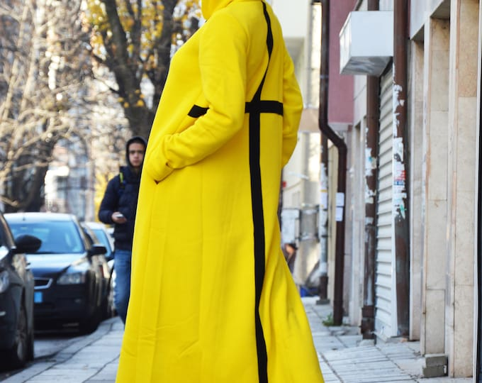 Maxi Long Dress, Casual Dress Long Sleeve, Hooded Dress, Cotton Dress for Women, Yellow Kaftan With Cross, Plus Size Dress by SSDfashion