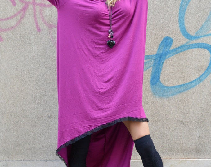 Asymmetric Purple Dress, Maxi Long Dress, Loose Soft Viscose, Casual Dress, Summer Sexy Tunic by SSDfashion