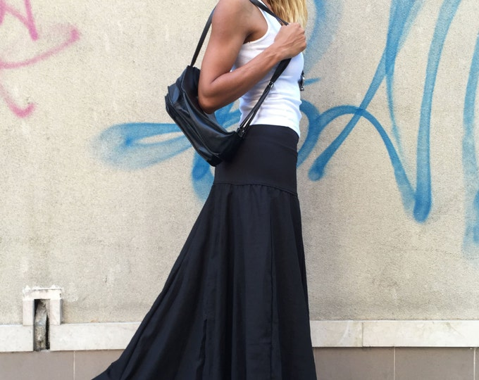 Extravagant Black Skirt, Loose Linen Skirt, Summer Skirt, Oversize Long Skirt,Everyday Skirt, Elastic Skirt, Everyday Skirt by SSDfashion