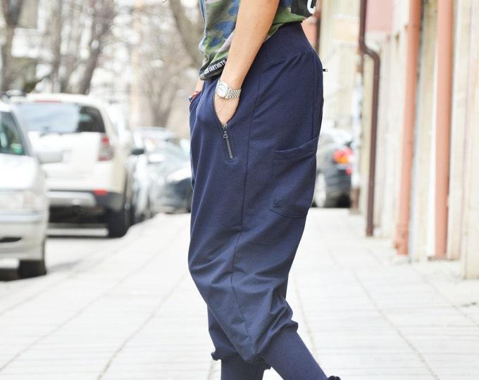 Cotton Pants, Blue Pants, Loose Pants, Extravagant Low Bottom Pants, Casual Drop Crotch Pants, Harem Pants by SSDfashion
