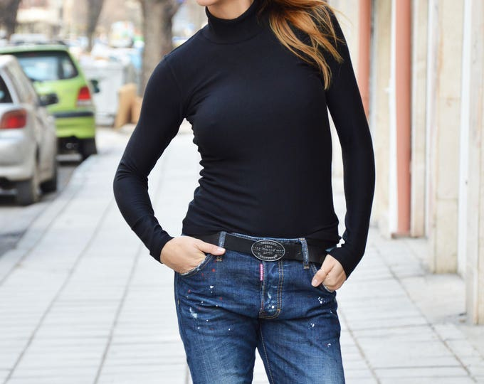 Women Black Top, Cotton Tricot Top, Long Sleeve Polo, Fashion Top, Maxi Blouse, Casual Blouse, Long Sleeves Top by SSDfashion