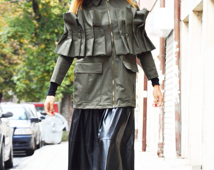 Military Lined Cotton Jacket, Extravagant Zipper Coat, Fashion Woman's Coat, Casual Jacket by SSDfashion