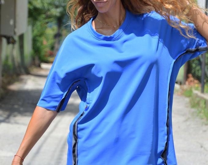 Maxi Turkish Blue Neoprene Blouse, Oversize Top, Asymmetric Raglan Tunic Top, Side Strips Maxi Clothing by SSDfashion
