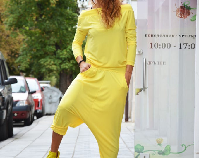 Casual Yellow Jumpsuit, Loose Hooded Jumpsuit, Drop Crotch Unique Pants, Extravagant Jumpsuit, Casual Romper, Summer Pants by SSDfashion