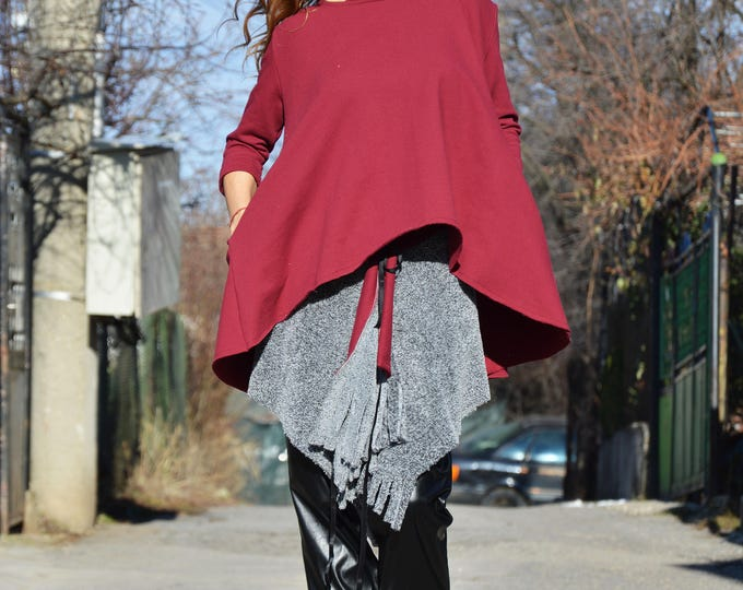 Asymmetric Burgundy Set, Extravagant Tunic and Sexy Skirt, Women Top, Fashion outfit, Maxi Blouse, Trendy Set, Loose Skirt by SSDfashion