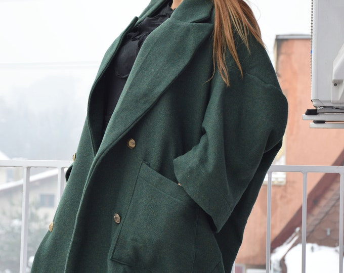 Asymmetrical Dark Green Coat, Winter Wool Coat, Large Pockets Coat, Oversize Women Coat, Maxi Fashion Coat by SSDfashion