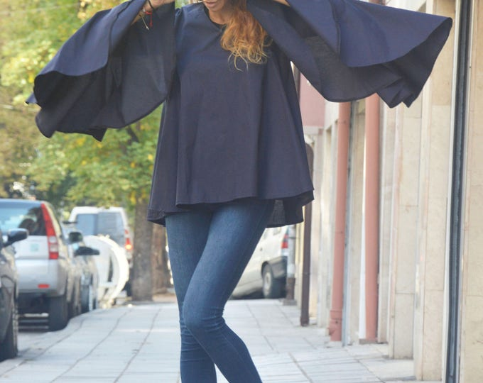 Maxi Sleeves Shirt, Dark Blue Cotton Shirt, Loose Tunic, Casual Party Shirt, Elegant Shirt, Maxi Tunic by SSDfashion