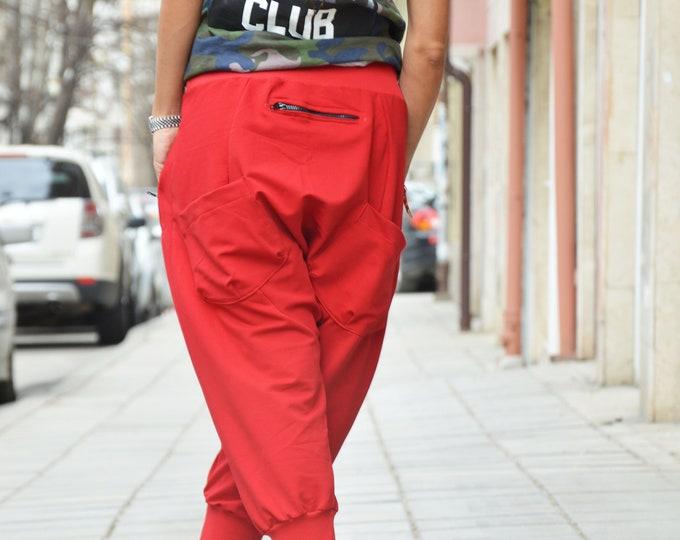 Red Trousers, Pants, Harem Pants, Extravagant Low Bottom Pants, Cotton Pants, Casual Drop Crotch Pants by SSDfashion