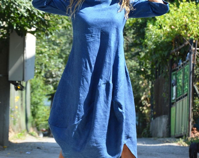 Summer Kaftan Dress, Blue Linen Dress, Custom Made Dress, Elegant Maxi Dress, Short Sleeves Dress, Trendy Woman Dress by SSDfashion