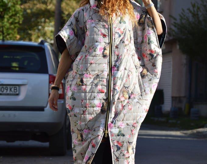Print Owl Sleeveless Loose Vest, Warm Windproof Long Maxi Coat, Asymmetric Oversize Vest, Stylish Collar Coat by SSDfashion