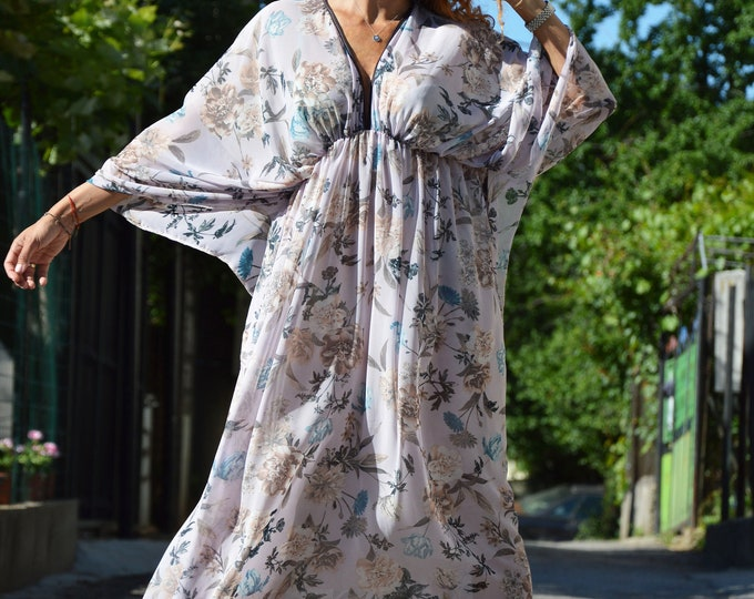 Summer Chiffon Dress, Maxi Long Dress, Elegant Dress, Oversized Dress, Beach Dress, Extravagant Dress by SSDfashion