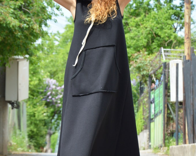 Black Sleeveless Dress, Hooded Long Dress, Winter Front Pocket Dress, Extravagant Casual Maxi Kaftan, Comfortable by SSDfashion