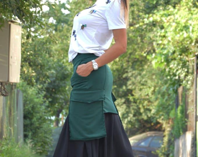 Oversize Long Short Skirt, Womens Summer Skirt, Extravagant Two Parts Skirt, Summer Skirt, Asymmetric Green Cotton Skirt by SSDfasion