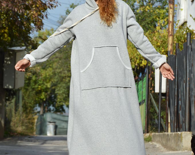Casual Hooded Maxi Dress, Plus Size Clothing, Winter Dress with Hoodie, Extravagant Dress Outside Pockets by SSDfashion
