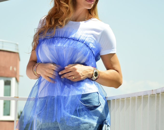 Elegant Short Sleeves Top with Tulle, Extravagant Cotton Blouse, Oversize Maxi Top by SSDfashion