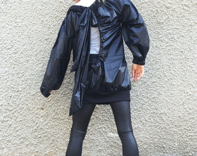 Asymmetric Black Jacket, Extravagant Winter Cardigan, Waterproof Windproof Trench, Maxi Sweatshirt, Oversize Black Top by SSDfashion