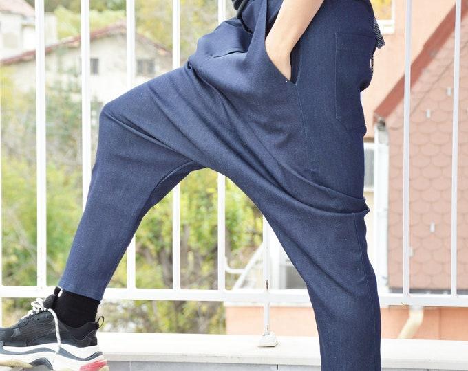 Autumn Loose Dark Blue Denim Pants, Casual Sexy Extravagant Pants, Drop Crotch Bottom Pants by SSDfashion