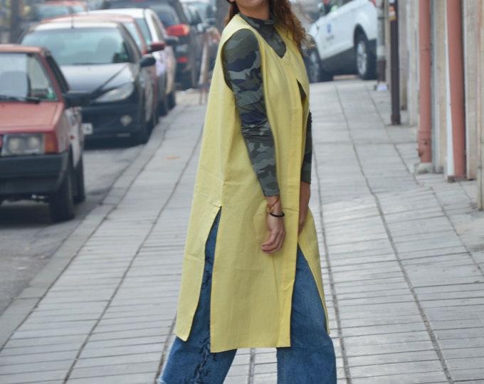 Women's Elegant Linen Vest, Long Vest, Loose Vest, Extravagant Vest, Maxi Vest, Fashion Vest, Asymmetric Vest by SSDfashion