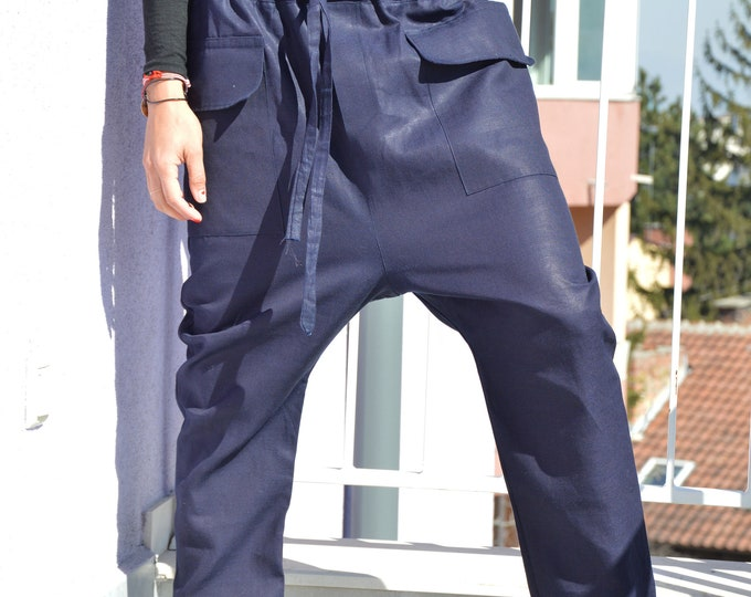 Dark Blue Loose Pants, Maxi Pocket Trousers, Extravagant Maxi Pants , Women drop crotch by SSDfashion