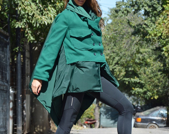 Asymmetric Olive Green Coat, Winter Coat, Extra Long Sleeves Warm Coat, Women Coat with Side Pockets, Maxi Coat by SSDfashion