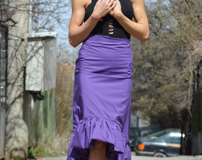 Cotton High Waisted Skirt, Extravagant Skirt, Asymmetric Maxi Skirt, Plus Size Clothing, Purple Skirt,Oversize Long Skirt by SSDfasion