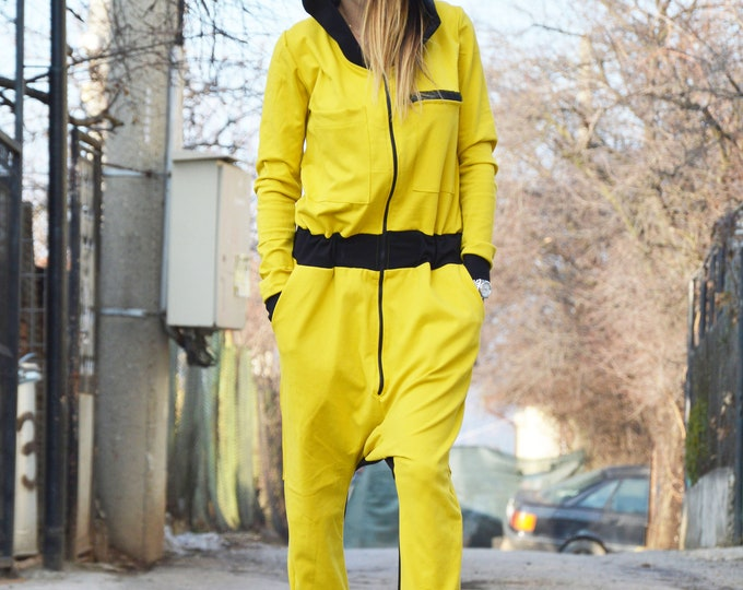 Cotton Hooded Jumpsuit, Plus size Jumpsuit, Loose Yellow Jumpsuit, Handmade Jumpsuit, Union Suit, Loose Jumpsuit, Maxi Romper by SSDfashion
